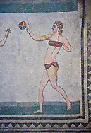 Mosaic detail fron the Room of the Ten Bikini Girls, room no 30, from the Ambulatory of The Great Hunt, room no 28,  at the Villa Romana del Casale which containis the richest, largest and most complex collection of Roman mosaics in the world. Constructed in the first quarter of the 4th century AD. Sicily, Italy. A UNESCO World Heritage Site. .<br /> <br /> If you prefer to buy from our ALAMY PHOTO LIBRARY  Collection visit : https://www.alamy.com/portfolio/paul-williams-funkystock/villaromanadelcasale.html<br /> Visit our ROMAN MOSAICS  PHOTO COLLECTIONS for more photos to buy as buy as wall art prints https://funkystock.photoshelter.com/gallery/Roman-Mosaics-Roman-Mosaic-Pictures-Photos-and-Images-Fotos/G00008dLtP71H_yc/C0000q_tZnliJD08