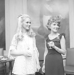 22 April 1962 - Jayne Harries and her mother Anne Harries at Jayne's Debutante Cocktail party at the Army & Navy Club, Pall Mall, London.<br /> <br /> Photo by Dominic O'Neill/Desmond O'Neill Features Ltd.  +44(0)1306 731608  www.donfeatures.com