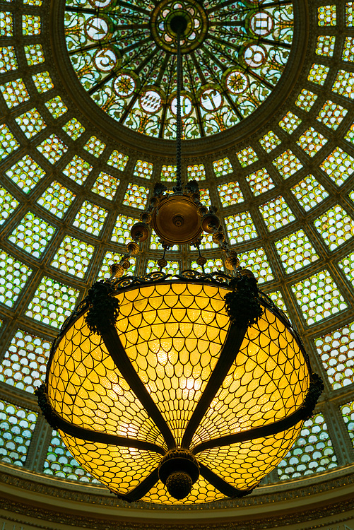 The largest Tiffany chandelier and dome in the world: Preston Bradley Hall of the Chicago Cultural Center.