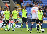 Brighton central midfielder, Dale Stephens scores and acknowledged the away fans during the Sky Bet Championship match between Bolton Wanderers and Brighton and Hove Albion at the Macron Stadium, Bolton, England on 26 September 2015.