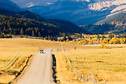 Road leading into Rocky Mountain Front,Montana.