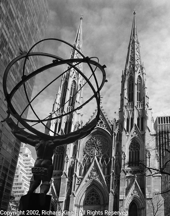 Atlas and St. Patrick's Cathedral, Manhattan
