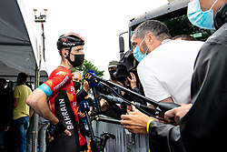 Matej MOHORIC of BAHRAIN VICTORIOUS talking to journalist after 2nd Stage of 27th Tour of Slovenia 2021 cycling race between Zalec and Celje (147 km), on June 10, 2021 in Slovenia. Photo by Matic Klansek Velej / Sportida
