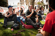 "Ekaitz Ezkerra eats an ice cream while people spends the day on the street in a place called Aske Gunea (The Free Space in basque language) supporting the 8 young persons who have been sentenced to six years in jail. They have been sentenced for having been members of the Basque pro-independence youth organization SEGI ('Keep on' in basque language). Donostia-San Sebastian (Basque Country) April, 16th 2013. As an arrest warrant was issued against them and they could be arrested any time, young supporters gathered them to prevent them from being arrested. The sentence stated: ""Membership to terrorist organization"". (Gari Garaialde/Bostok Photo)"