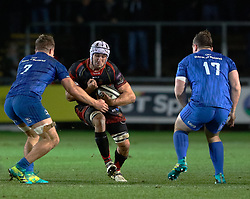 Ollie Griffiths of Dragons under pressure from Scott Penny of Leinster<br /> <br /> Photographer Simon King/Replay Images<br /> <br /> Guinness PRO14 Round 10 - Dragons v Leinster - Saturday 1st December 2018 - Rodney Parade - Newport<br /> <br /> World Copyright © Replay Images . All rights reserved. info@replayimages.co.uk - http://replayimages.co.uk