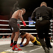 FORT LAUDERDALE, FL - FEBRUARY 15: Gustavo Trujillo celebrates after he knocks out Lorenzo Hunt during the Bare Knuckle Fighting Championships at Greater Fort Lauderdale Convention Center on February 15, 2020 in Fort Lauderdale, Florida. (Photo by Alex Menendez/Getty Images) *** Local Caption *** Lorenzo Hunt; Gustavo Trujillo
