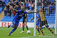 Cardiff City's Sol Bamba (l) celebrates after scoring his teams 1st goal for a last minute equaliser. EFL Skybet championship match, Cardiff city v Sheffield Wednesday at the Cardiff City Stadium in Cardiff, South Wales on Saturday 16th September 2017.<br /> pic by Carl Robertson, Andrew Orchard sports photography.
