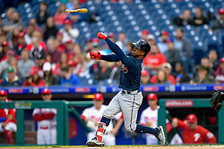 May 22, 2018 - Philadelphia, PA, U.S. - PHILADELPHIA, PA - MAY 22: Atlanta Braves second baseman Ozzie Albies (1) lets his bat fly during the MLB game between the Atlanta Braves and the Philadelphia Phillies on May 22, 2018 at Citizens Bank Park in Philadelphia PA. (Photo by Gavin Baker/Icon Sportswire) (Credit Image: © Gavin Baker/Icon SMI via ZUMA Press)
