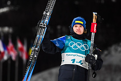 February 12, 2018 - Pyeongchang, SOUTH KOREA - 180212  Sebastian Samuelsson of Sweden, Silver, celebrates after the Men's Biathlon 12,5km Pursuit during day three of the 2018 Winter Olympics on February 12, 2018 in Pyeongchang..Photo: Jon Olav Nesvold / BILDBYRN / kod JE / 160157 (Credit Image: © Jon Olav Nesvold/Bildbyran via ZUMA Press)