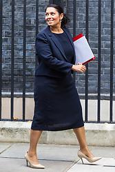 London, October 17 2017. International Development Secretary Priti Patel leaves the UK cabinet meeting at Downing Street. © Paul Davey