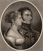 Princess Charlotte of Wales (1796-1817) only child of George IV of Great Britain and Caroline of Brunswick, with her husband Leopold of Saxe-Coburg (1790-1865) later Leopold I of Belgium, whom she married in 1816. Heiress to the throne and universally popular, she died in childbirth 1817. Stipple engraving from 'History of the Wars Occasioned by the French Revolution...' by CH Gifford (London, 1817).