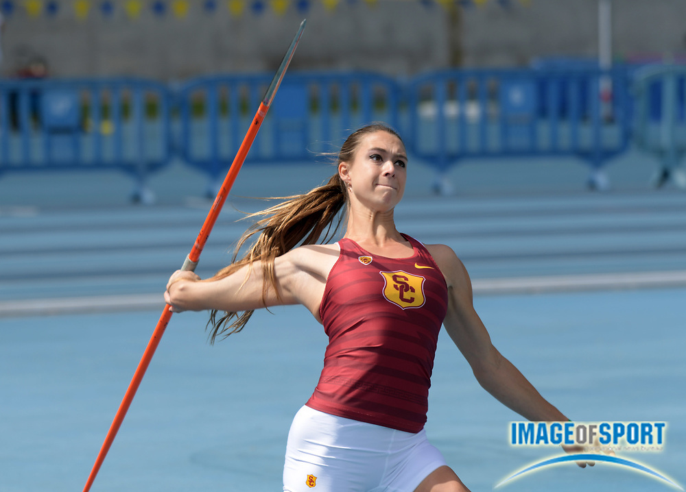 Colette Putnam aka Coco Putnam places fifth in the women's javelin at 89-10 (27.39m) during a collegiate dual meet against UCLA at Drake Stadium in Los Angeles, Sunday, April 29, 2018.