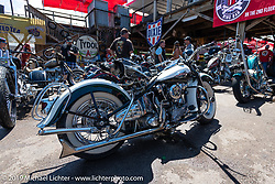 Harley-Davidson Knucklehead at the Broken Spoke area of the Sturgis Iron Horse Saloon during the Sturgis Black Hills Motorcycle Rally. Sturgis, SD, USA. Sunday, August 4, 2019. Photography ©2019 Michael Lichter.