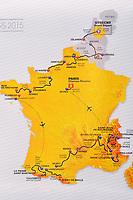 Illustration Map Carte,  Stages Etapes, during the Presentation of Tour de France 2015, in Paris, France, on October 22, 2014. Photo Tim de Waele / DPPI