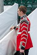 Henley on Thames, England, United Kingdom, Tuesday, 02.07.19, Bugler, of the Coldstream Guards, Henley Royal Regatta,  Henley Reach, [©Karon PHILLIPS/Intersport Images]<br /> <br /> 13:36:03 1919 - 2019, Royal Henley Peace Regatta Centenary,