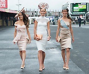 30/07/2015 Repro free  Lorena Dunne, Barbara Dunne and Gabriella Dunne from Abbeyknockmoy  at  the Kilkenny Ladies Day at the GAlway races . photo:Andrew Downes