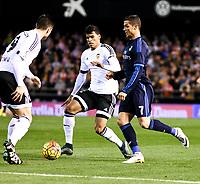Valencia's Danilo Barbosa, Antonio Barragan and Real Madrid's Cristiano Ronaldo during La Liga match. January 3, 2016. (ALTERPHOTOS/Javier Comos)