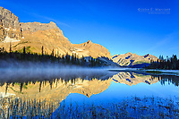 Crowfoot Mountain reflected in the headwaters of the Bow River, Banff National Park, Alberta, Canada