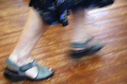Close up of feet in line dancing class,