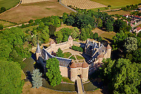 France, Cher (18), Berry, le château d'Ainay-le-Vieil, vue aérienne, route Jacques Coeur,// France, Cher (18), Berry, château d'Ainay-le-Vieil castle, aerial view, the Jacques Coeur road