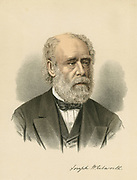 Joseph Whitworth (1803-1887) British engineer and inventor. Machine tools: Screw thread. Tinted lithograph c.1880