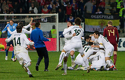 Players of Slovenia celebrate after  FIFA World Cup Sout Africa 2010 Qualifying Second Play off match between Slovenia and Russia, on November 18, 2009, in Stadium Ljudski vrt, Maribor, Slovenia. Slovenia won 1:0 and qualified for the FIFA World Championships 2010. (Photo by Vid Ponikvar / Sportida)