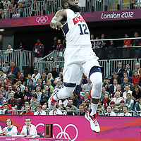 29 July 2012: USA James Harden goes for the dunk during the 98-71 Team USA victory over Team France, during the men's basketball preliminary, at the Basketball Arena, in London, Great Britain.