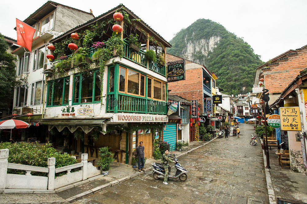 A view of West Street in Yangshuo, China.