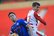 Ian Henderson and Matty Blair during the EFL Sky Bet League 1 match between Doncaster Rovers and Rochdale at the Keepmoat Stadium, Doncaster, England on 1 January 2019.