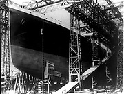 The Titanic, White Star, Liner on the stocks in Harland & Wolff's shipyard, Belfast, Northern Ireland.  She sank on 12 April 1912 after striking an iceberg on her maiden voyage to New York . More than 1,500 lives lost. Disaster Shipwreck