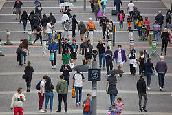 © Licensed to London News Pictures.  10/07/2021. London, UK. Members of the public walk through Olympic Way in Wembley Stadium ahead of the EURO 2020 final in London between England and Italy tomorrow evening (Sunday). Photo credit: Marcin Nowak/LNP