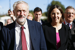 © Licensed to London News Pictures. 01/10/2015. Edinburgh, UK. Leader of Scottish Labour Party Kezia Dugdale and Leader of Labour Party Jeremy Corbyn visiting Scottish Parliament in Edinburgh on Thursday, 1 October 2015 whilst making his first visit to Scotland as leader of the UK Labour Party. Photo credit: Tolga Akmen/LNP