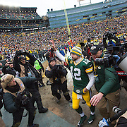 Green Bay Packers quarterback Aaron Rogers leaves the field after the Packers beat the Dallas Cowboys. (Photo © Andy Manis)
