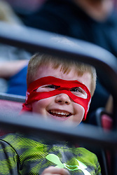 NORMAL, IL - January 05: Young Redbird fan wears a Reggie Super Hero mask during a college women's basketball game between the ISU Redbirds and the Purple Aces of University of Evansville January 05 2020 at Redbird Arena in Normal, IL. (Photo by Alan Look)