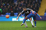 Cesar Azpilicueta of Chelsea and Jason Puncheon of Crystal Palace tussle for the ball. Barclays Premier League match, Crystal Palace v Chelsea at Selhurst Park in London on Sunday 3rd Jan 2016. pic by John Patrick Fletcher, Andrew Orchard sports photography.