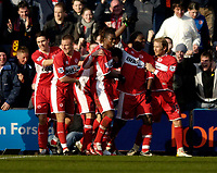 Photo: Jed Wee.<br /> Preston North End v Middlesbrough. The FA Cup. 19/02/2006.<br /> <br /> Middlesbrough mob goalscorer Yakubu (2nd R) after his first goal.