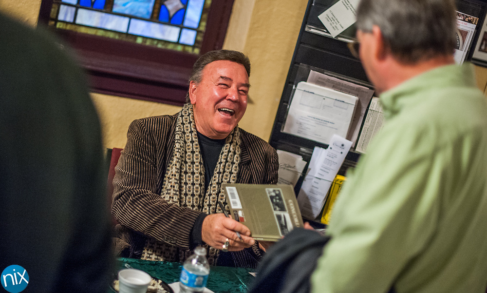 """Actor Dan Truhitte, notable from his role as Rolfe in """"The Sound of Music"""" signs books during Legendary Locals Day at the Old Courthouse Theatre in Concord Sunday afternoon. The various """"legendary celebrities"""" are from historian Michael Eury's new book """"Legendary Locals of Concord."""""""