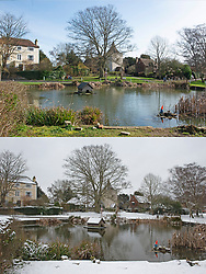 © Licensed to London News Pictures. 20/02/2021.        Otford, UK. A comparison image of Otford's duck pond roundabout in Kent  in the sunshine today (20.02.2021) and the same scene in snow twelve days ago (8.02.2021). Warmer temperatures are expected all weekend with today set to be the hottest in three months. Photo credit:Grant Falvey/LNP<br /> **Use requires payment for two pictures**