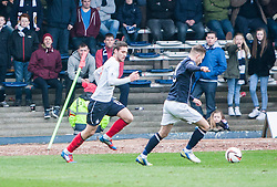 Falkirk's Luke Leahy with the corner flag.<br /> Dundee 0 v 1 Falkirk, Scottish Championship game played today at Dundee's Dens Park.<br /> © Michael Schofield.