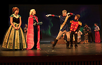 """Anna (Camryn Marshall) and Elsa (Avery Hennig) get a preview of Wesselton's (Logan Grant) dance moves with Wesselton's Guard (Connor Brough) during dress rehearsal for """"Frozen"""" with Gilford Middle School on Wednesday afternoon.  (Karen Bobotas/for the Laconia Daily Sun)"""