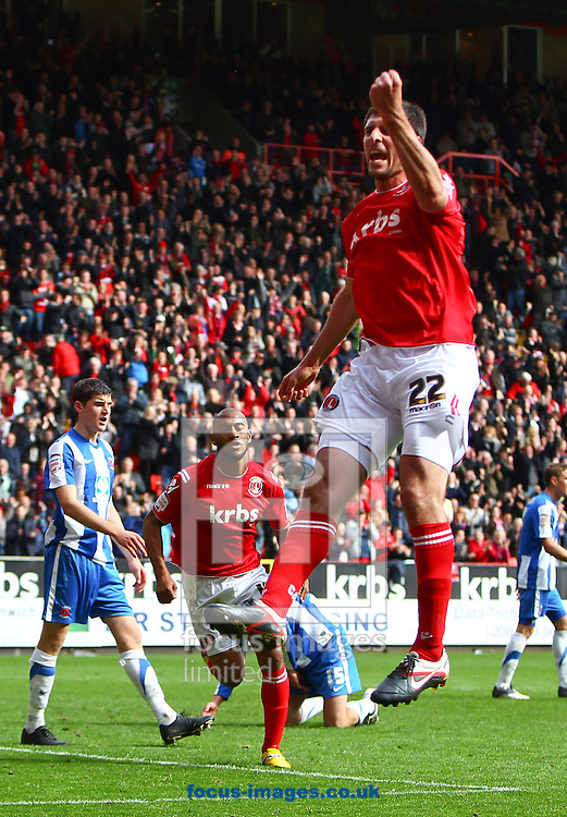 Picture by John Rainford/Focus Images Ltd. 07506 538356.05/05/12.Danny Hollands of Charlton Athletic celebrates his equaliser against Hartlepool United during the Npower League 1 match at The Valley stadium, London.