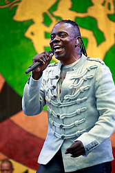 28 April 2013. New Orleans, Louisiana,  USA. .Philip Bailey of Earth, Wind and Fire plays the Congo Square stage at the New Orleans Jazz and Heritage Festival. .Photo; Charlie Varley.