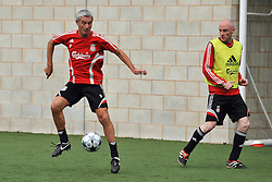 LIVERPOOL, ENGLAND - Tuesday, May 12, 2009: Ex-Liverpool player Ian Rush and Liverpool Echo reporter Tony Barrett during a training session at Melwood as the players prepare for the Hillsborough Memorial Game in aid of the Marina Dalglish Appeal which will be staged at Anfield on May 14. (Photo by Dave Kendall/Propaganda)