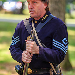 Lancaster, PA - July 23, 2016: An army seargeant at the Landis Valley Village and Farm Museum during the Civil War Encampment.