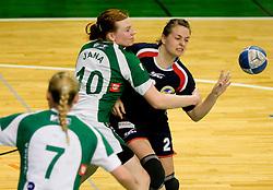 Jana Bacar of Krka vs Zala Bojovic of Celje at handball Slovenian cup match for 3rd place between ZRK Krka Novo mesto and ZRK Celje Celjske mesnine, on March 28, 2010, SD Leon Stukelj, Novo mesto, Slovenia.  Krka defeated Celje 35-32. (Photo by Vid Ponikvar / Sportida)