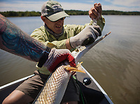 Angler and guide Drew Price detangles a fly from the teeth of a long nose gar, lake champlain