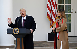"""First lady Melania Trump watches as President Donald Trump talks before pardoning """"Peas""""from South Dakota at the National Thanksgiving Turkey pardoning ceremony in the Rose Garden of the White House in Washington, DC on November 20, 2018. Photo by Olivier Douliery/ABACAPRESS.COM"""