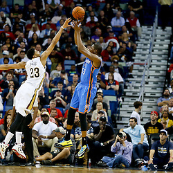 Dec 2, 2014; New Orleans, LA, USA; Oklahoma City Thunder forward Kevin Durant (35) shoots over New Orleans Pelicans forward Anthony Davis (23) during the second quarter of a game at the Smoothie King Center. Mandatory Credit: Derick E. Hingle-USA TODAY Sports