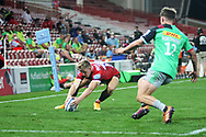 Gloucester's Ollie Thorley during the Gallagher Premiership Rugby match between Gloucester Rugby and Harlequins at the Kingsholm Stadium, Gloucester, United Kingdom on 14 September 2020.