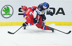 Dmitri Kulikov of Russia vs Aleksander Barkov of Finland during Ice Hockey match between Finland and Russia at Day 12 in Group B of 2015 IIHF World Championship, on May 12, 2015 in CEZ Arena, Ostrava, Czech Republic. Photo by Vid Ponikvar / Sportida
